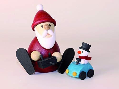 Weihnachtsmann mit ferngesteuertem Auto Höhe ca 8,3cm NEU Erzgebirge Weihnachtsfigur Holzfigur