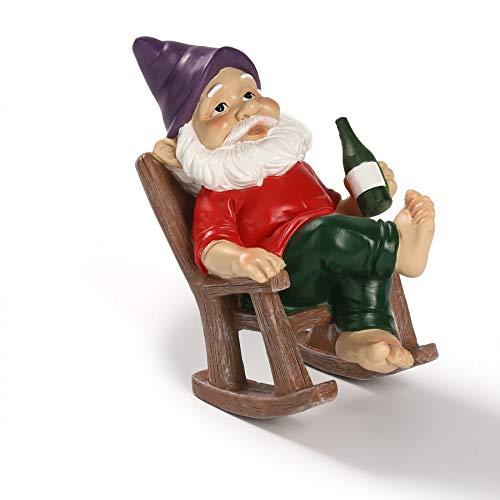 Uziqueif Gartenzwerg Lustig,Gartenzwerge auf Dem Stuhl Liege mit lila MüTze Bier Trinken,15cm,Harz Frecher Zwerg