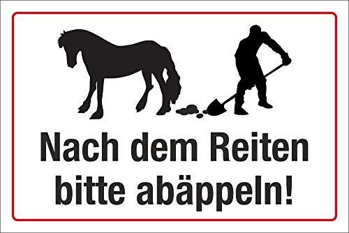 Schild Nach dem Reiten abäppeln Pferdeäpfel 3 mm Alu-Verbund 450 x 300 mm