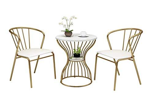COUYY Conjunto de Mesa de Comedor Elegante Sala de Estar |,One Side Table and Two Chairs