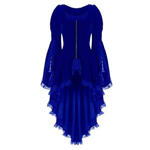 Women's Victorian Steampunk Tail Jacket Lace up Winter Vintage Lace Zipper Dresses Coats S-XXXXXL (4XL, Blue)