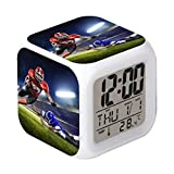 Cointone Led Alarm Clock Rugby Football Sport Design Creative Desk Table Clock Glowing Electronic Colorful Digital Alarm Clock for Unisex Adults Kids Toy Birthday Present Gift
