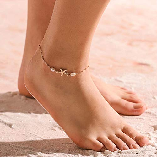 Obmyec Starfish Anklets Pearl Ankle Bracelets Gold Dangle Foot Chain Simple Beach Ankle Chain Dainty Ankle Jewelry for Women and Girls