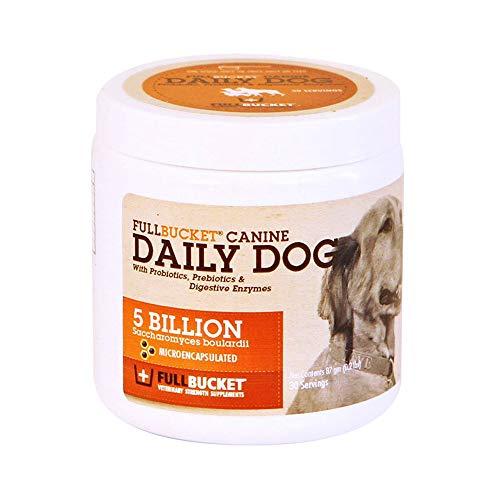 FullBucket Daily Dog Probiotic 87g - Support Natural Digestion, Treat & Prevent Diarrhea - Probiotics, Prebiotics & Digestive Enzymes All in One Tasty Dog Probiotic Powder
