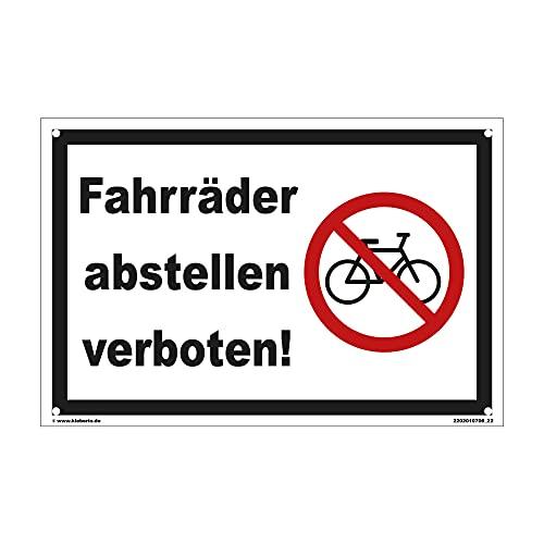 kleberio® Parken verboten Schild Kunststoff - Fahrräder abstellen verboten! - 30 x 20 cm mit Bohrlöchern Fahrrad Schilder einfahrt freihalten Schilder Privatparkplatz Schild Verbotsschilder