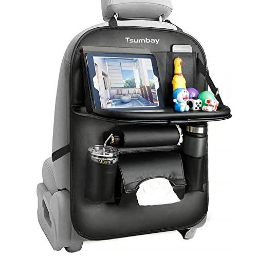 Tsumbay Organizador de asiento trasero de coche con soporte para tableta, 9 bolsillos de almacenamiento, organizador de almacenamiento de cuero sintético con bandeja de mesa plegable, protectores de respaldo de asiento de coche, accesorios de viaje, 1 unidad