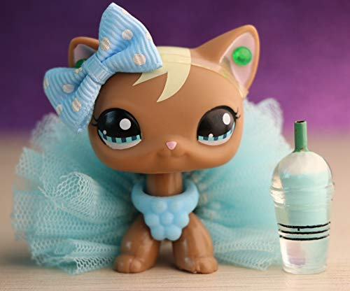 TTtoy lps Rare Figures lps Shorthair Cat 1170, Brown Kittem with Blue Eyes with Accessories Kids Gift
