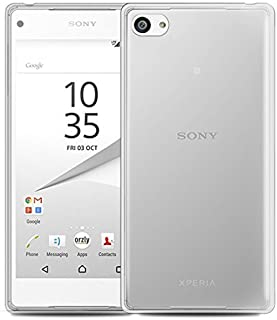 Orzly Fusion Bumper Case Cover Shell for Sony Xperia Z5 Compact Smartphone (2015 Model/Mini Version) - Protective Hard Cover with Impact Absorbing Transparent Rubber Rim & 100% Clear Back Panel