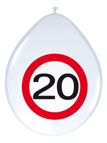 Folat 20. Geburtstag Luftballons Party-Deko 8 Stück Weiss-rot 30cm EIN