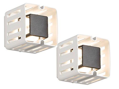 Konstsmide Lot de 2 LED Applique Murale d'Extérieur Pescara – Carré Blanc, 300 lm, IP54 Aluminium 7978–250