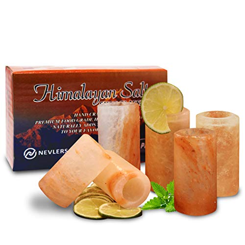 Nevlers All Natural Handcrafted Pink Himalayan Salt Shot Glasses - Great for Tequila Shots - Set of 6 Pieces - 3' Tall Shot Glasses - 100% Himalayan Salt