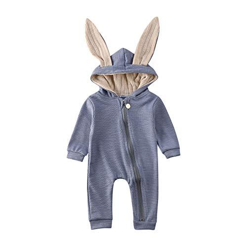 Carolilly Schlafanzug Baby Mädchen Pyjama Jungen Strampler Ostern Hasen Ohren Hoodie Herbst Winter (Blau, 9-12 Monate)