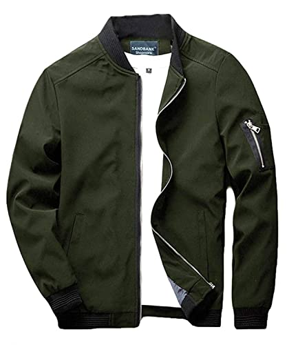 sandbank Men's Slim Fit Lightweight Sportswear Flight Bomber Jacket Softshell Casual Coat (Army Green, US M (Asian Tag 3XL))