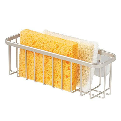 mDesign Metal Wire Kitchen Sink Suction Holder for Sponges, Scrub Brushes, Soap - Extra Large - Satin