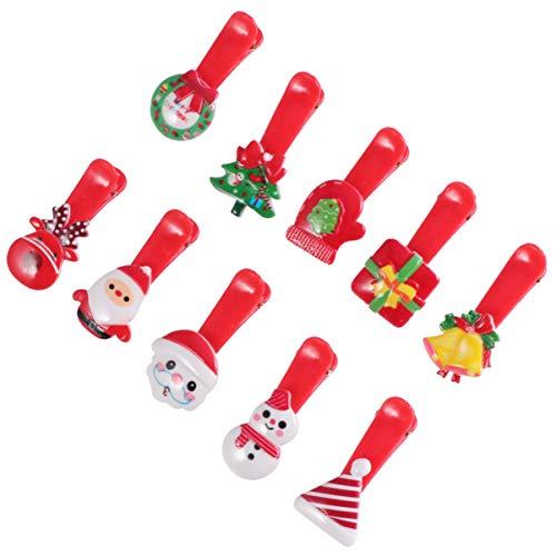 SOLUSTRE 100 stuks Kerstmis thema-georiënteerde haarspelden Santa Rendier Sneeuwman Kerstboom Haarspelden Leuke Haarspelden Bobby Pins Kerstfeest Cadeaugeschenken (Rood)