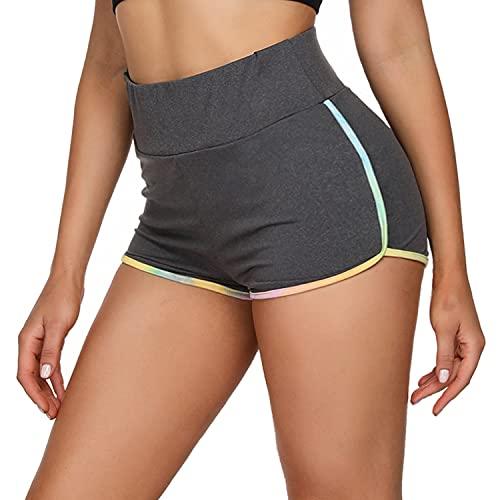 Wayleb Pantaloncini Sportivi da Donna Sexy Calzamaglia Pantaloni Estivi da Yoga Fitness Shorts Pantaloncini Vita Alta con Tasche Grigio Scuro S