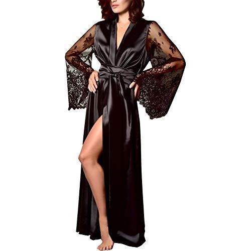 Bata Mujer Satén Color sólido Bata Larga Mujer Lisa Manga Transparente de Encajes Elegante y Sexy Lencería Casa con Cinta en Cintura Vestido Kimono (Negro, L)