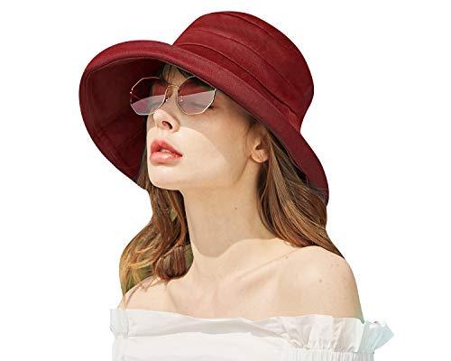 CACUSS Mujer Sombrero Senderismo Gorra Sol Plegable Sombrero de ala Ancha de verano con protección UV UPF 50+ Sombrero de Playa Sombrero de cubo Gorra de pescador para viajes y al aire libre,vino rojo