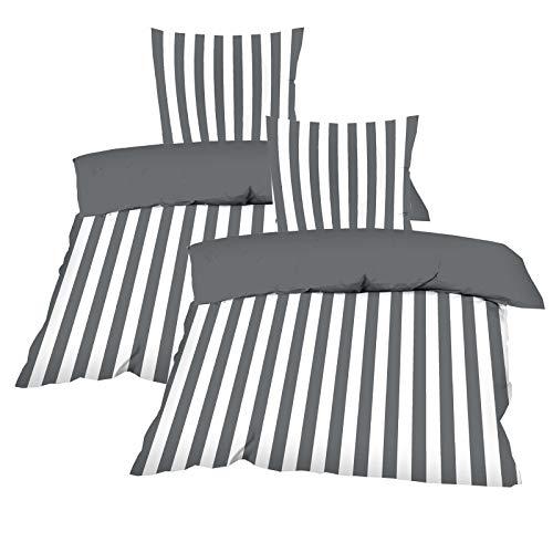 Casa Colori Bettwäsche 135 x 200 cm 4 TLG. Wendebettwäsche Renforce aus 100% Baumwolle mit Reißverschluss im maritim Look Gestreift oder Uni Anthrazit Grau