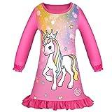 Kinder Mädchen Einhorn Nachthemd Pferd Kleid Nachthemden Baumwolle Nachtwäsche Langarm Pyjama Freizeitkleidung Schlafanzug Frühling Herbst/140cm