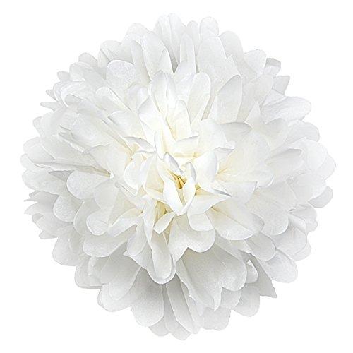 Simplydeko Pompoms 10er Set | Deko Pom-Poms aus Papier | Papierkugel zur Hochzeit oder Party | Papierblumen als Hochzeitsdeko | Seidenpapier Pompons | Weiß | 40 cm