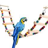 FayTun Juguetes para pájaros, Escalera de Madera para pájaros de 10 peldaños Escalera Colgante para jaulas de cacatúas, Coloridos Accesorios Flexibles para jaulas de pájaros