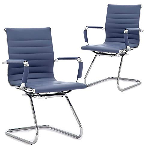 DM Furniture Reception Chairs Leather Conference Guest Chair Heavy Duty Back Support Office Chair, Set of 2 (Navy)