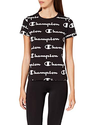 Champion Seasonal AC Logo Allover Crewneck T-Shirt, Black, M Womens
