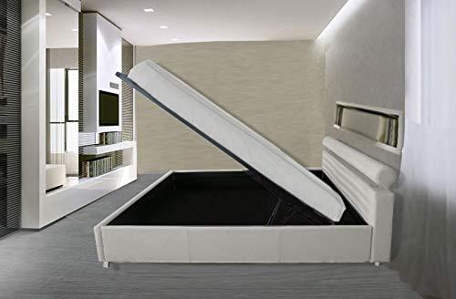 Gstore Letto Matrimoniale Contenitore in Ecopelle Moderno [JB11] (Bianco, Ecopelle)