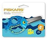 Fiskars Tijeras de animales para niños con motivos de peces, A partir de 4 años, Longitud: 13 cm, para diestros y zurdos, Hoja de acero inoxidable/Mangos de plástico, Azul, 1003746