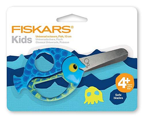 Fiskars Forbici per bambini a forma di pesce, A partire da 4 anni, Lunghezza: 13 cm, Per destrorsi e mancini, Lama in acciaio inossidabile/Impugnature