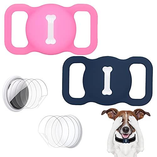 Funda compatible con AirTag 2 Pack Pet Dog Cat Collares Localizador GPS Finder Cubierta de Silicona para Airtags con Protector de Pantalla HD para Airtags Funda en mochila