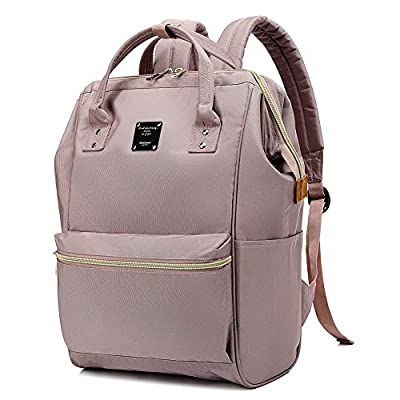 Bebamour School Backpack for Girls Travel Laptop Backpack for Women 15.6 inch Wide Open Back to School Business Backpack for Women&Men (Pink)