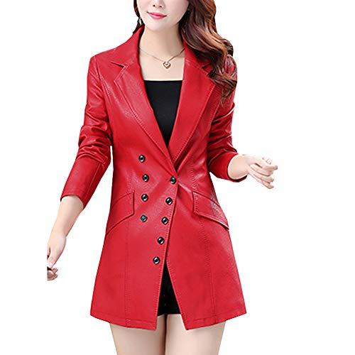 DISSA P7058 - Abrigo de piel sintética para mujer rojo 40