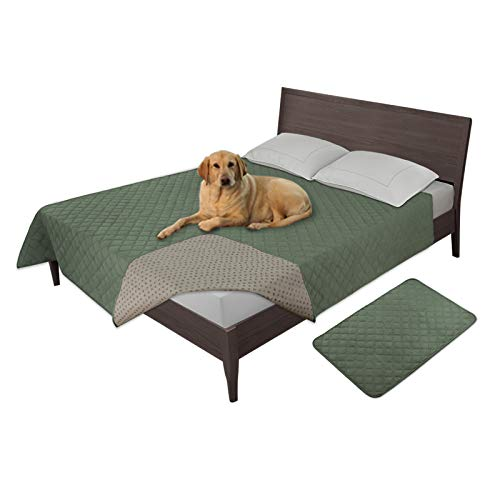 Easy-Going 100% Waterproof Dog Bed Cover Furniture Protector Sofa Cover Non-Slip Washable Reusable Incontinence Bed Underpads for Pets Kids Children Dog Cat(86x82 in,Greyish Green)
