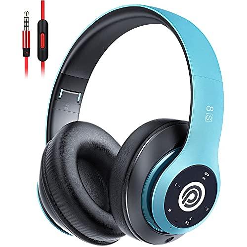 Bluetooth Kopfhörer Kabellose, HiFi Stereo Over Ear Kabellos Kopfhörer mit Mikrofon und Faltbares Wireless Headphone, Unterstützt die Micro SD/TF FM (für iPhone/Samsung/iPad/PC) (Blau)
