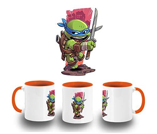 MERCHANDMANIA Taza Naranja Tortuga con Katana Color mug