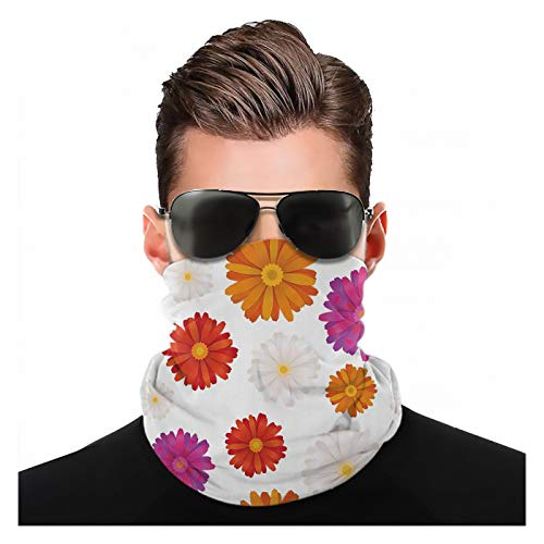 Yeuss gerber tusensköna tyg med huvudscarf, vibrerande färgade blommor på enkel bakgrund själslig och fräsch sommarsäsong, kan användas för att täcka huvud och ansikte utbytbar turban