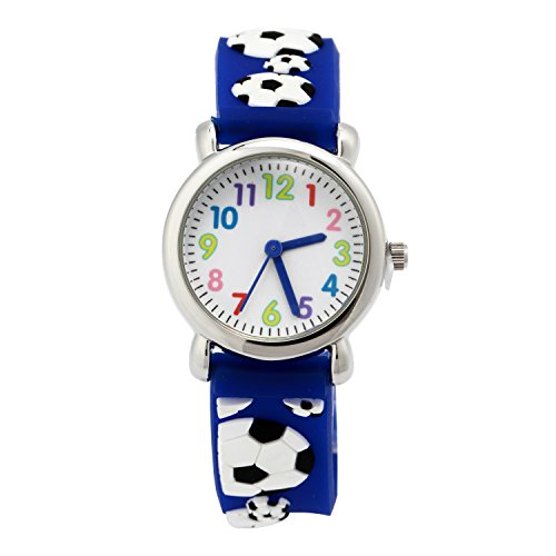Eleoption Waterproof Kid Watches 3D Cute Cartoon Digital Silicone Wristwatches Time Teacher Gift for Little Girls Boy Kids Children Birthday (Football-Blue)