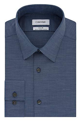Calvin Klein Men's Dress Shirt Slim Fit Non Iron Stretch Solid, Blue Velvet, 17.5