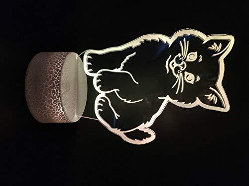 Luz de noche 3D lindas mascotas gatos animales niñas mejor decoración sala de estar atmósfera lámpara de mesa Usb luz de noche