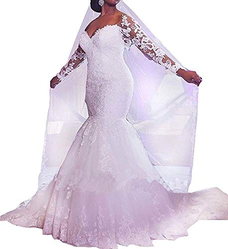 Momabridal Womens Long Tulle Mermaid Off Shoulder Wedding Dresses Beaded Applique Bridal Gowns Long Sleeve with Train White 4