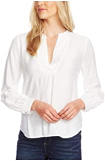 Vince Camuto Rumple Split-Neck Blouse New Ivory Large