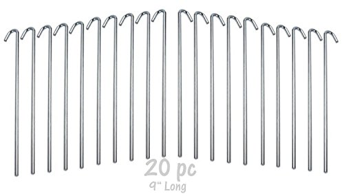 """Ram-Pro 20-Piece Tent Garden Stakes Heavy Duty, Galvanized Steel Pegs Rust-Free Garden Edging Fence Hook, Landscape Pins 