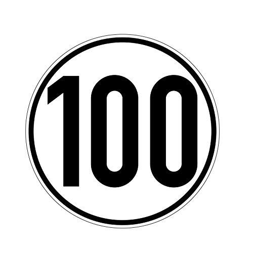 Geschwindkeitsaufkleber 100 km/h | Hinweis für Hobby | Selbstklebend Folie für Fahrzeuge & Anhänger | 100 mm | PlottFactory