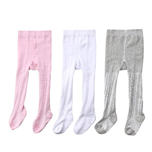 WANGSAURA Baby-Mädchen Strumpfhose 3 Paar Set Cable Warme Leggings Kinderstrumpfhose (3 Paar Set, 0-6 Monate)
