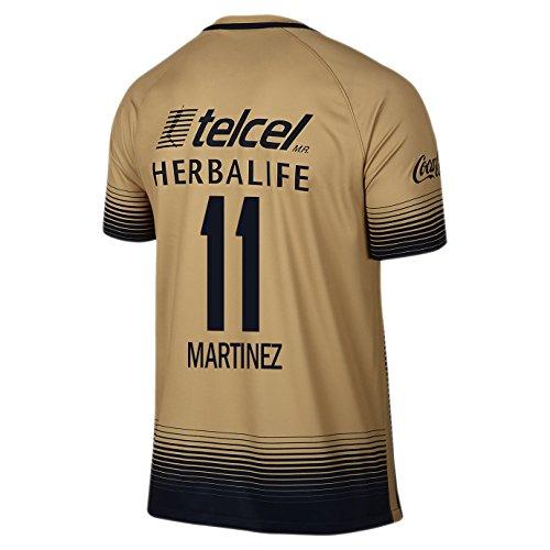 Martinez #11 Pumas UNAM Men Away Jersey 2015-2016 (S) Gold