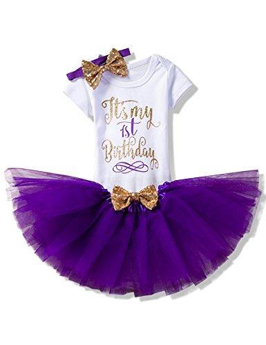 NNJXD NNJXD Mädchen Neugeborene Es ist Mein 1. Geburtstag 3 Stück Outfits Strampler + Rock + Stirnband Größe (1) 1 Jahre Lila