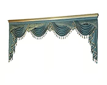 TIYANA Luxury Blue Valance for Window Curtain Blue Swag European Royal Style Rod Pocket Top 1 Piece W98 inch  About 250 cm Wide
