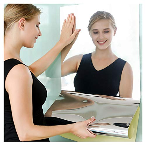Jiechang Espejos flexibles para pared, azulejos de espejo autoadhesivos, papel de espejo suave no de vidrio para decoración del hogar